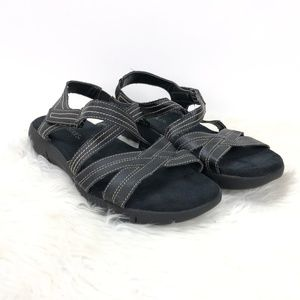 Aerosoles Black Leather Strap Comfort Sandals